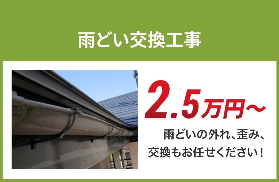 神奈川県の雨どい交換工事料金 樹脂製、高耐久雨どい