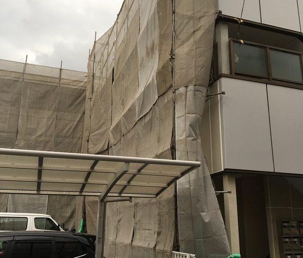 群馬県高崎市 外壁塗装 マンション 足場設置~養生